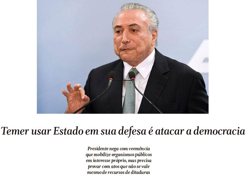 Michel Temer; abaixo reprodução do Globo