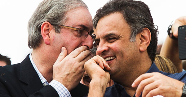 Eduardo Cunha e Aécio Neves na época em que tramavam juntos o impeachment de Dilma