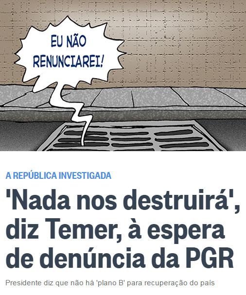 Charge de Genildo; abaixo reprodução do Globo