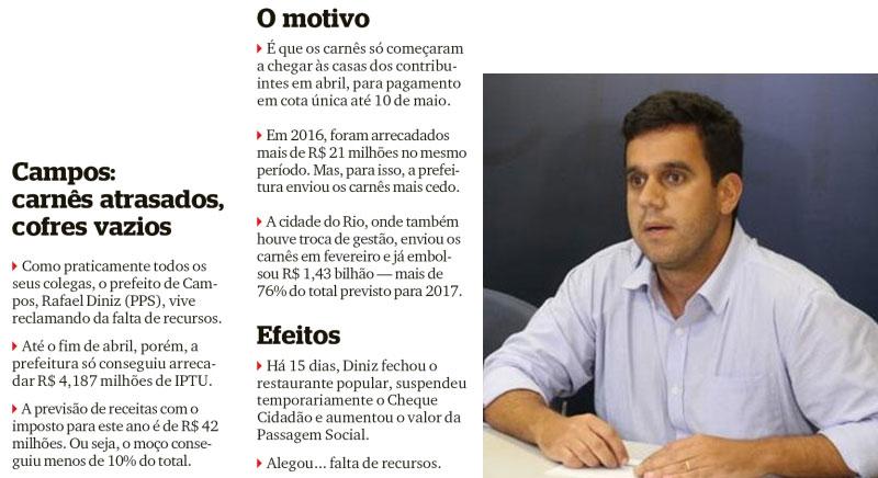 Reprodução da coluna Extra, Extra!, do Extra; ao lado Rafael Diniz