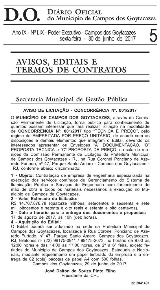 Reprodução do Diário Oficial de Campos dos Goytacazes, edição 30/06/2017, página 5
