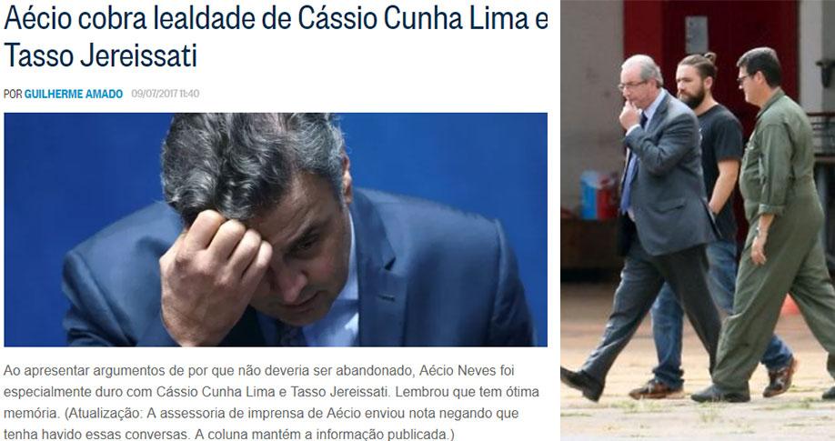 Reprodução da coluna de Lauro Jardim, do Globo; ao lado Eduardo Cunha sendo levado preso para Curitiba