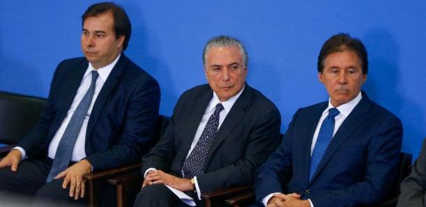 Rodrigo Maia, Michel Temer e Eunício Oliveira