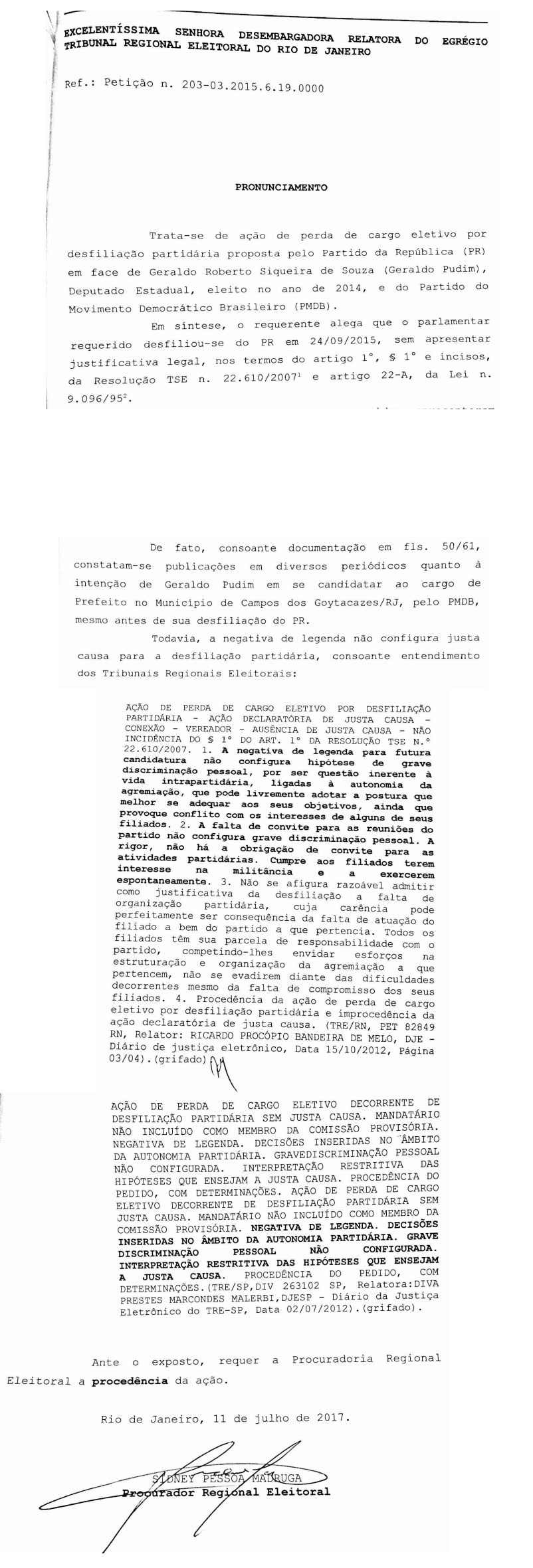 Apresentação do processo e parecer do Ministério Público Eleitoral pela perda de mandato de Geraldo Pudim