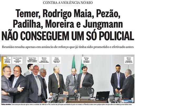 Reproduções das capas do Globo e do Dia