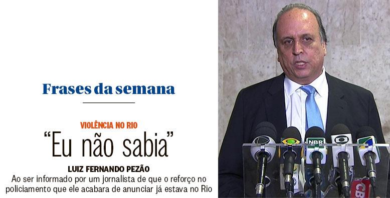 Reprodução do Globo; ao lado Pezão na coletiva desta semana em Brasília