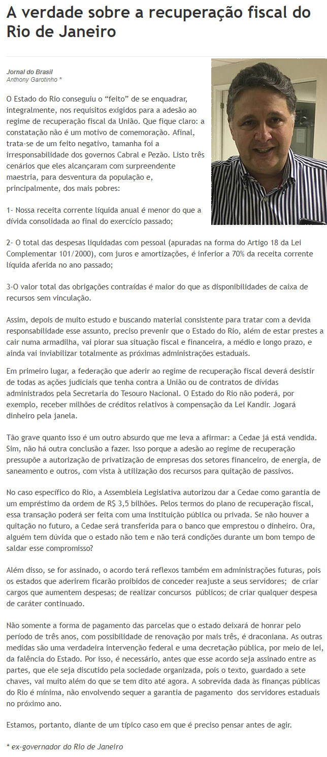 Reprodução do JB Digital; ao lado Garotinho