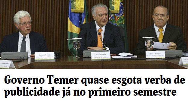 Moreira Franco, Michel Temer e Eliseu Padilha; abaixo manchete da coluna de Mônica Bergamo, da Folha de S.Paulo
