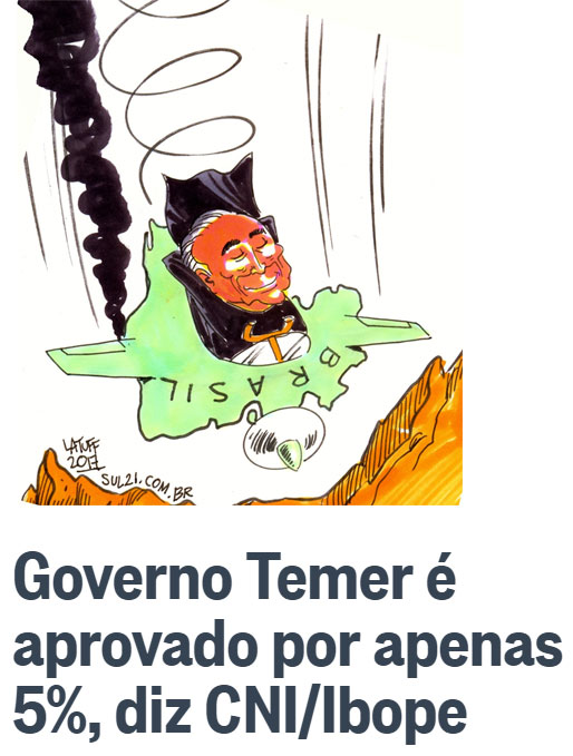 Charge de Latuff; abaixo manchete do Globo