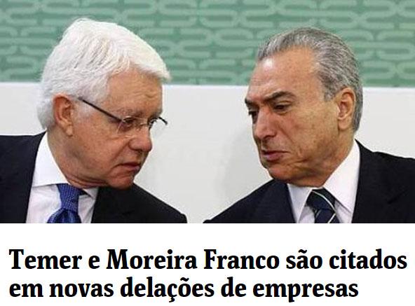 Moreira Franco e Michel Temer; abaixo manchete da coluna de Mônica Bergamo, da Folha de S.Paulo