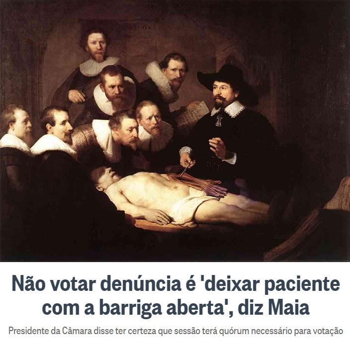 """Famoso quadro de Rembrandt """"Lição de Anatomia do Dr, Tulp""""; abaixo manchete do Globo online"""