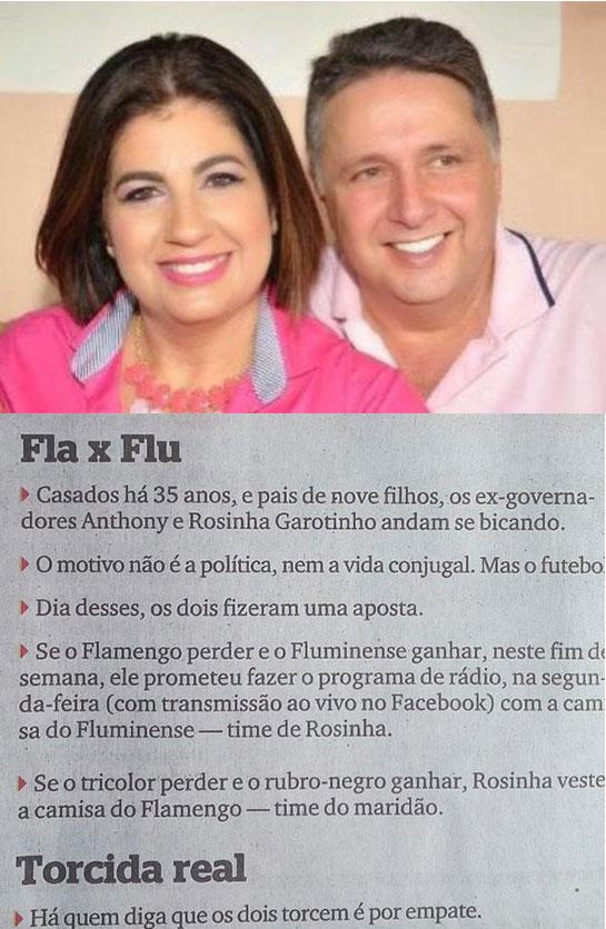 Garotinho e Rosinha; abaixo nota da coluna, Extra, Extra!, da jornalista Berenice Seara