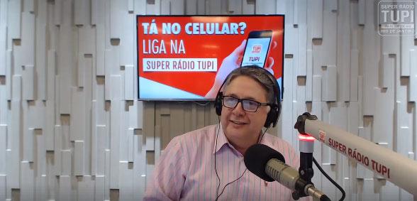 Imagem do programa de hoje da Rádio Tupi, transmitido ao vivo pela emissora e pelo Facebook