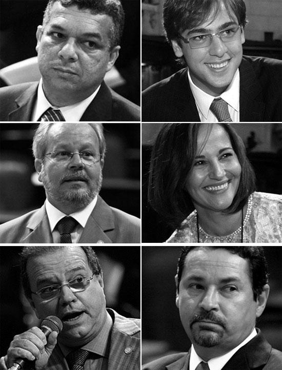 Jânio Mendes e Jorge Felippe Neto (no alto); Luiz Martins e Márcia Jeovani; Milton Rangel e Zaqueu Teixeira