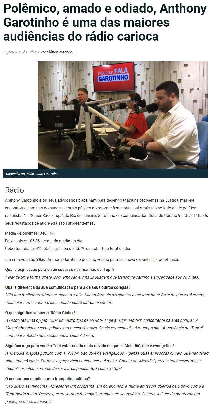 Reprodução do site SRzd, do jornalista Sidney Rezende