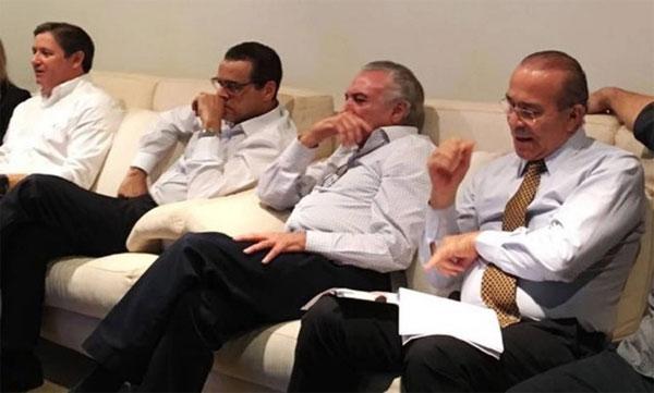 Rodrigo Rocha Loures, Henrique Eduardo Alves, Michel Temer e Eliseu Padilha acompanham a sessão do Senado que decretou o impeachment de Dilma Rousseff