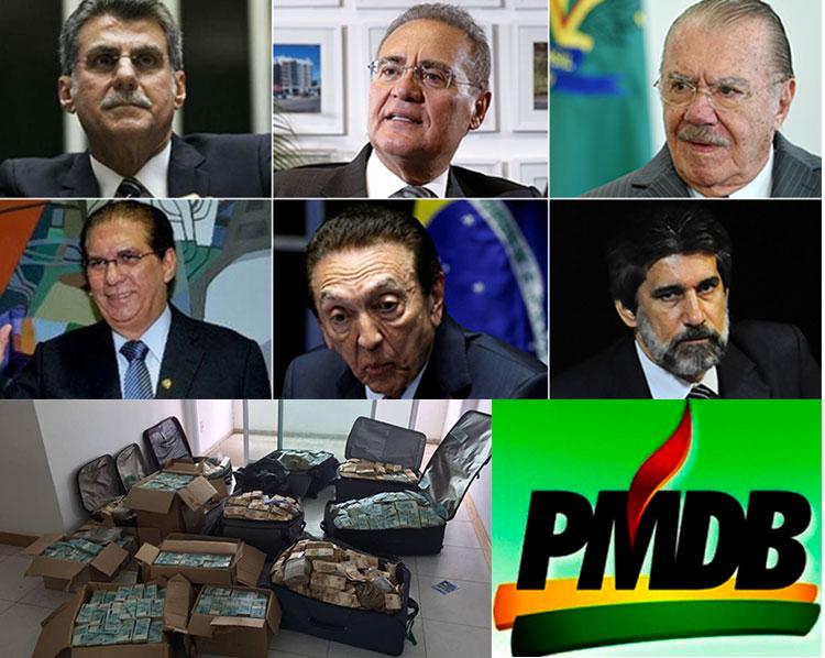 Romero Jucá, Renan Calheiros e José Sarney; abaixo Jader Barbalho, Edison Lobão e Valdir Raupp, todos denunciados por esquema criminoso de propinas