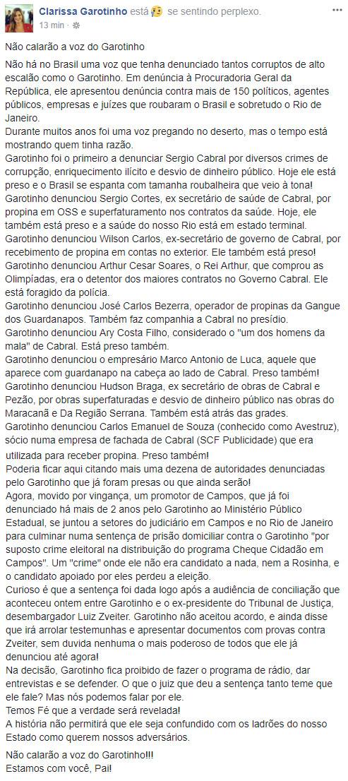 Postagem de Clarissa Garotinho no Facebook
