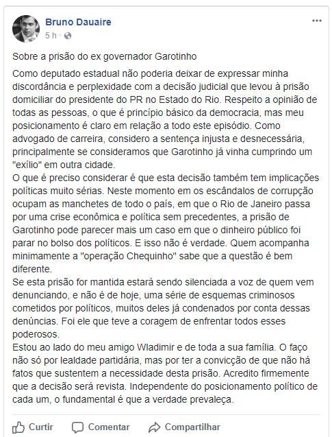 Reprodução do Facebook do deputado Bruno Dauaire
