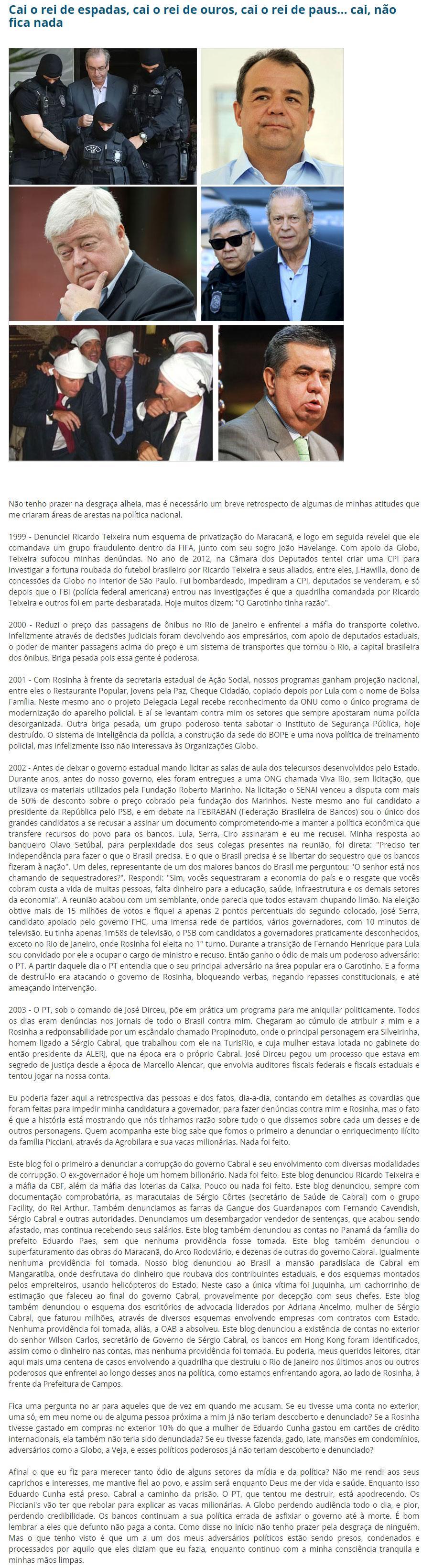 Reprodução do Blog do Garotinho (20/10/2016)