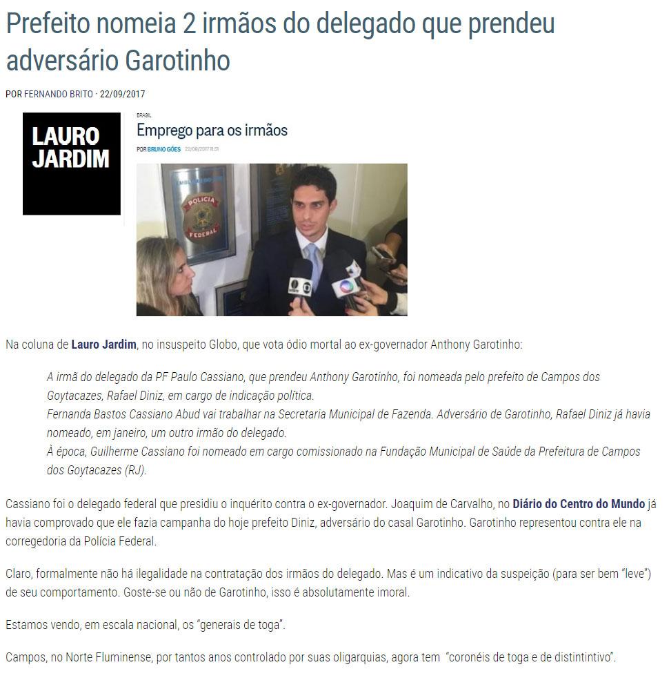 Reprodução do blog Tijolaço, do jornalista Fernando Brito