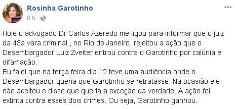 Reprodução do Facebook de Rosinha