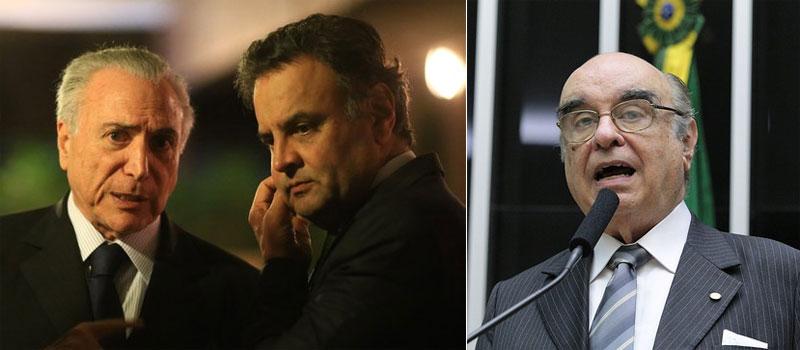 Temer e Aécio; ao lado o deputado Bonifácio de Andrada (PSDB-MG)