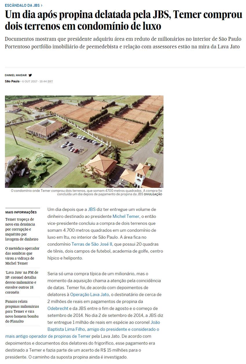 Reprodução do site do jornal El País (versão brasileira)