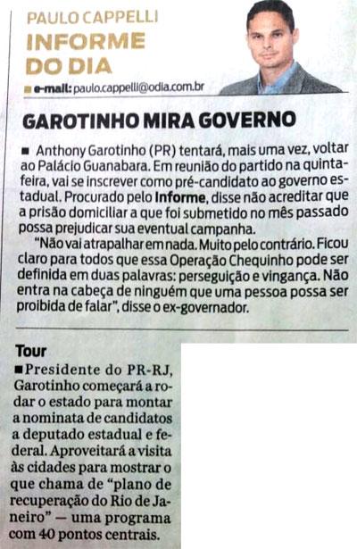 Reprodução do Informe do Dia, do jornalista Paulo Capelli