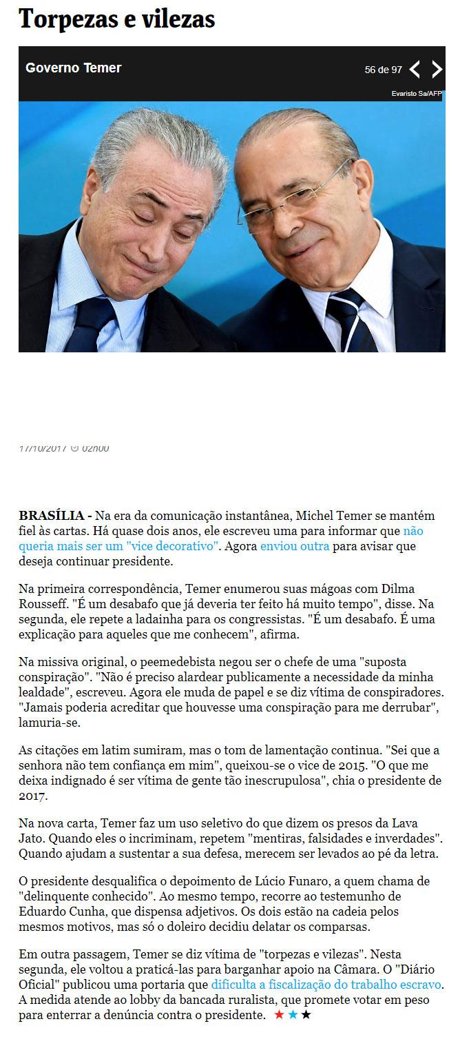 Artigo de Bernardo Mello Franco, da Folha de S.Paulo