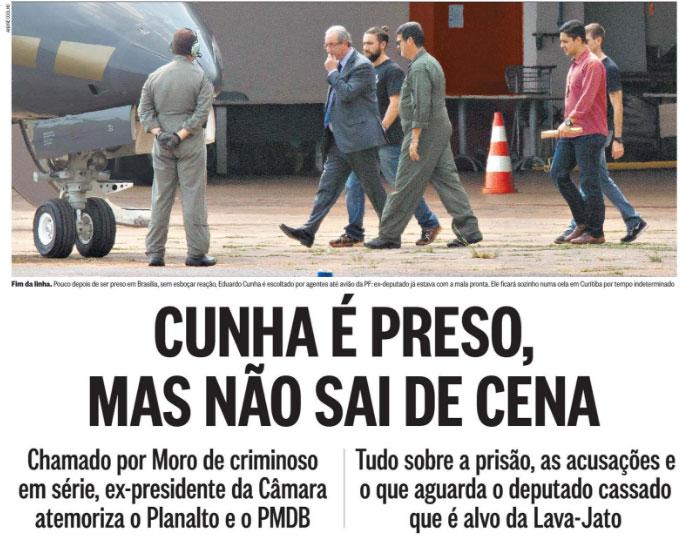 Manchete da capa do Globo (20/10/2016)
