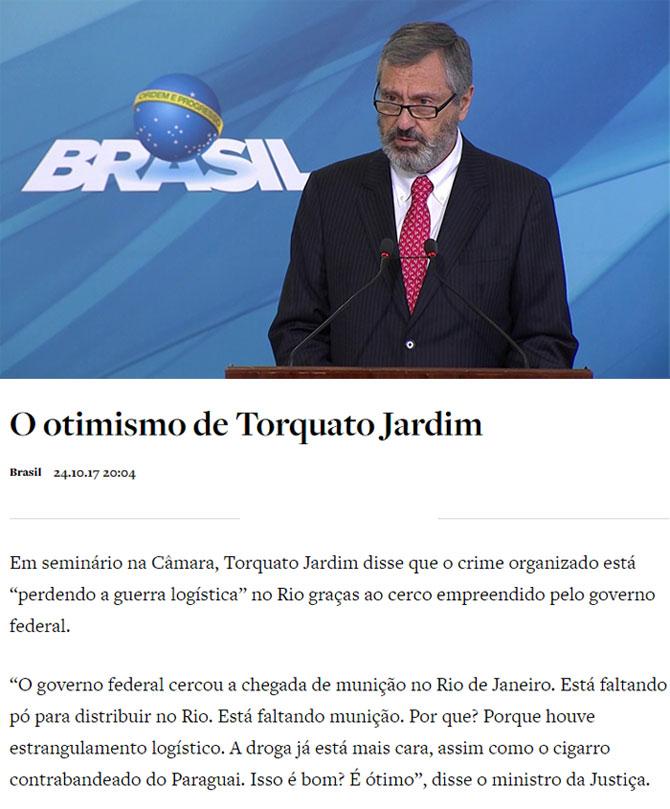 Ministro Torquato Jardim; abaixo reprodução do Antagonista