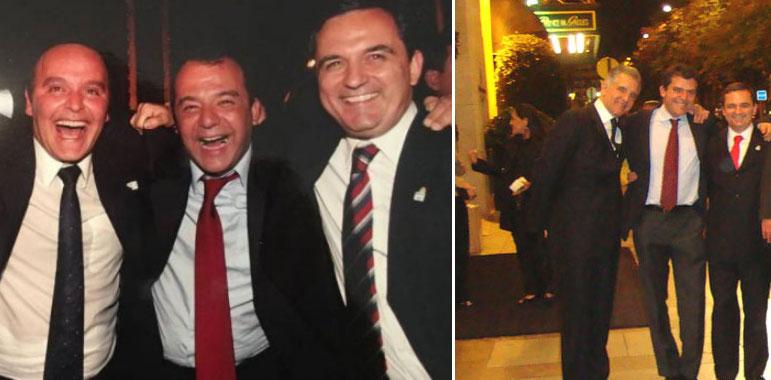 Regis Fichtner (primeiro da direita nas duas fotos) com Sérgio Cabral e Wilson Carlos (ex-secretário de Governo de Cabral, também preso em Benfica) numa farra da Gangue dos Guardanapos em Paris; ao lado com o empreiteiro Fernando Cavendish (ao centro) e o deputado Júlio Lopes na noite de Paris