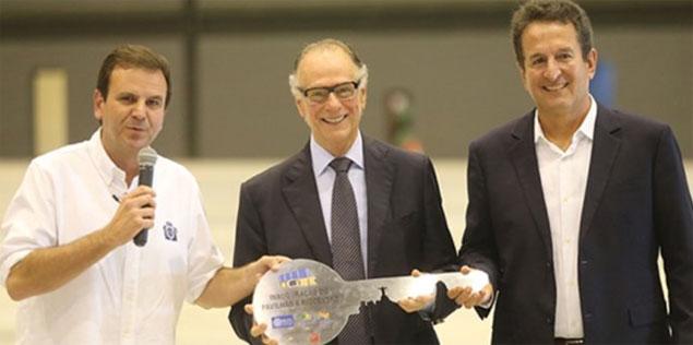 Eduardo Paes, Carlos Arthur Nuzman e Arthur Repsold (presidente da GL Events)