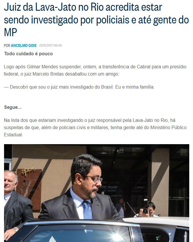 Reprodução do blog de Ancelmo Gois, do Globo