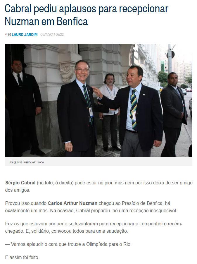 Reprodução da coluna de Lauro Jardim, do Globo