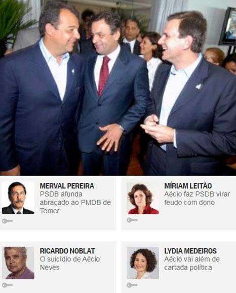 """Sérgio Cabral, Aécio Neves e Eduardo Paes nos """"bons tempos""""; abaixo reprodução do Globo online"""