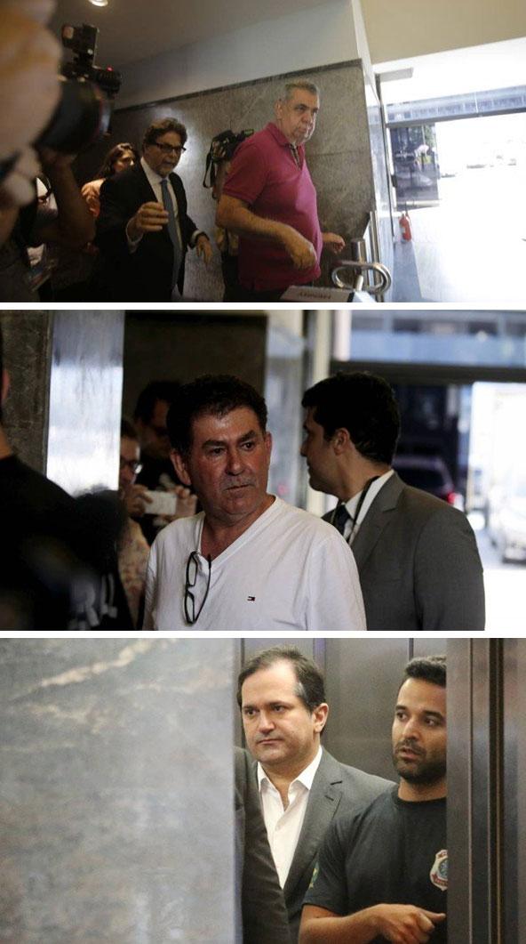 Jorge Picciani e Paulo Melo se entregando à Polícia Federal agora há pouco; Edson Albertassi chegando no dia da condução coercitiva (hoje entrou de carro particular pelo estacionamento e a imprensa não registrou imagem da chegada)