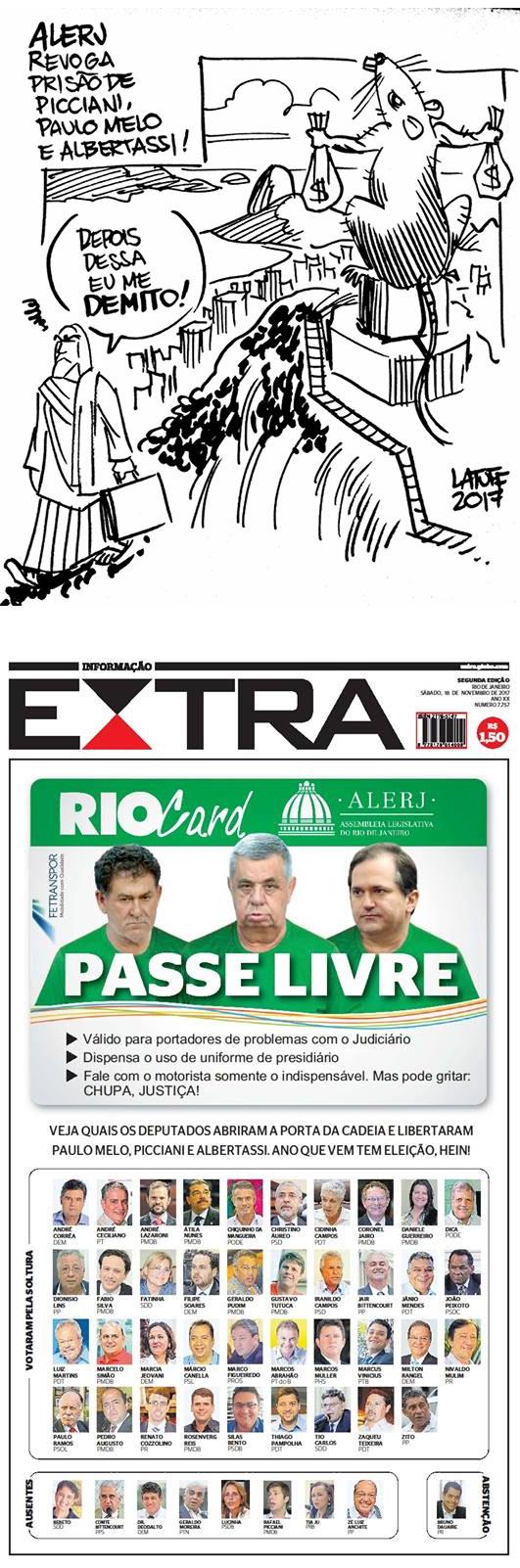 Charge de Latuff e a capa do jornal Extra