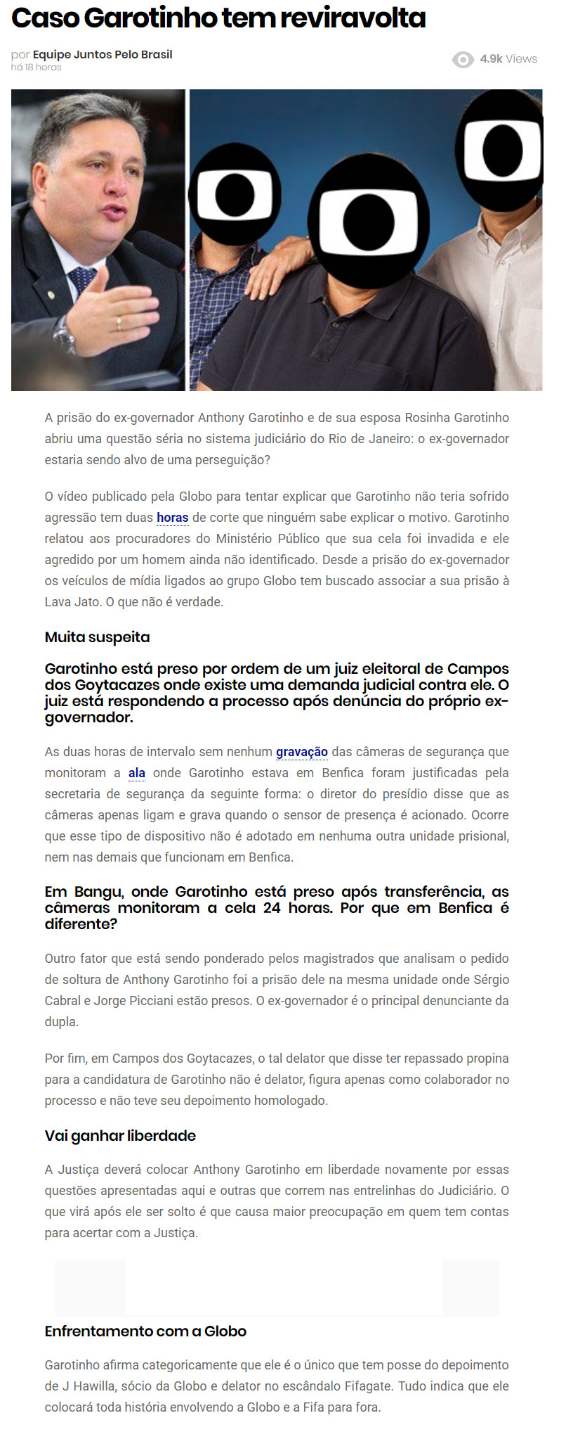 Reprodução do site Juntos pelo Brasil