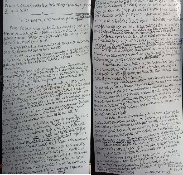 Carta escrita por Garotinho