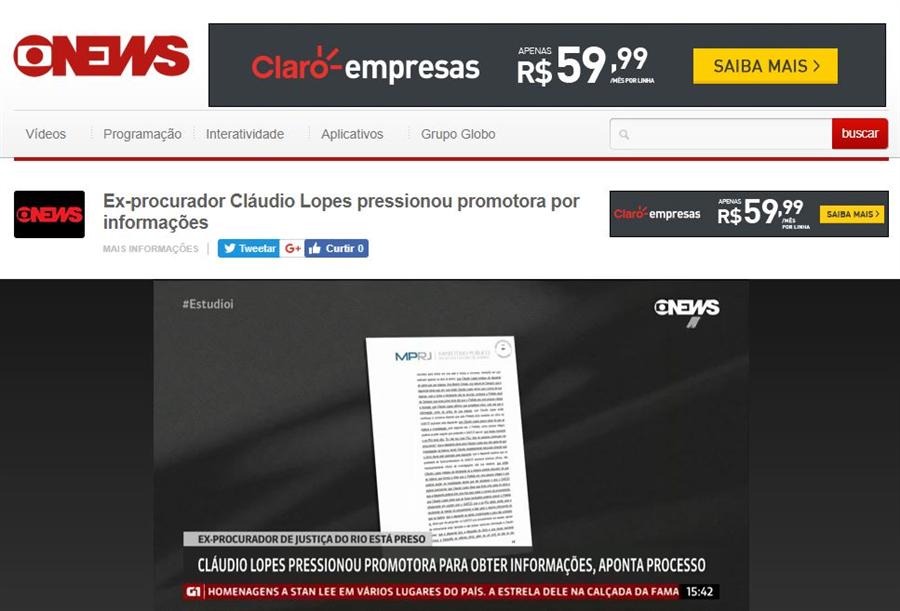 Reprodução página GloboNews