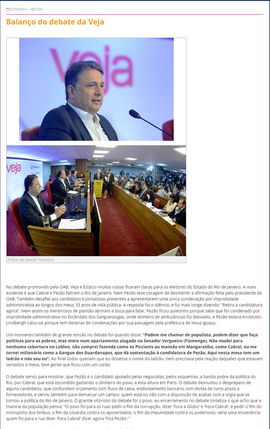 Matéria original do Blog do Garotinho publicada em 23/09/2014